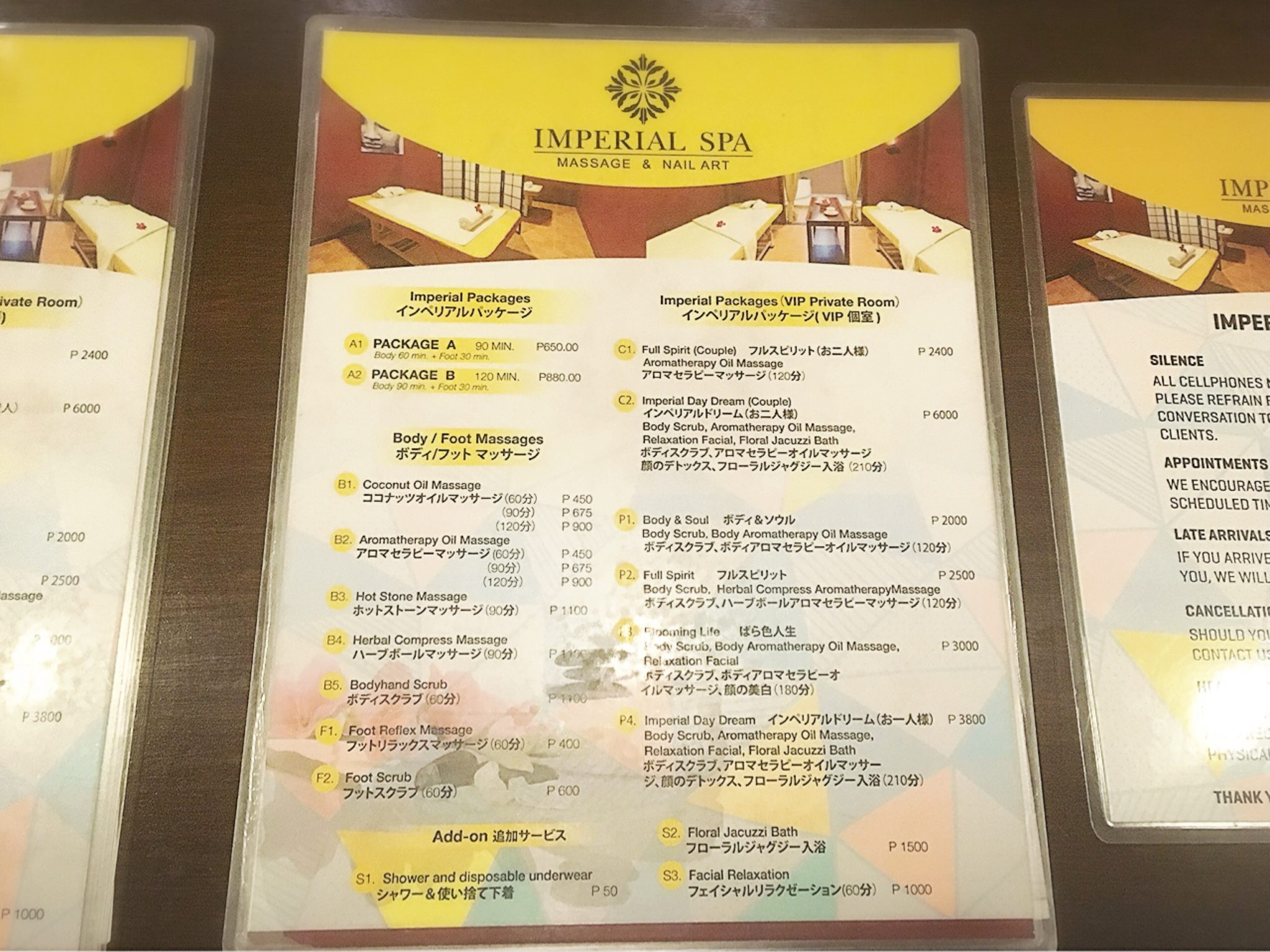 Imperial Spa Menu