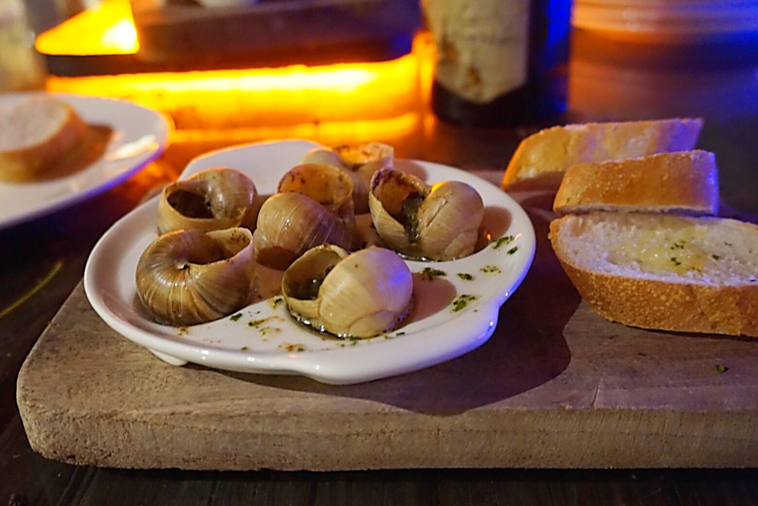 Cebu's Grilled escargot with garlic butter in the wine bar with the wine